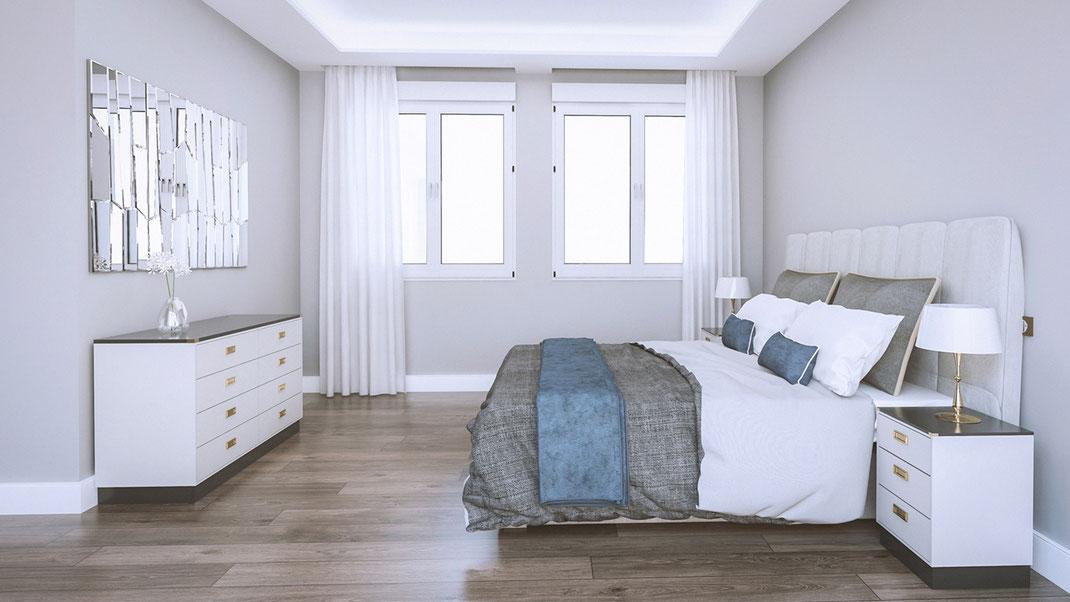 Infografía de arquitectura Real Sate. Dormitorio.