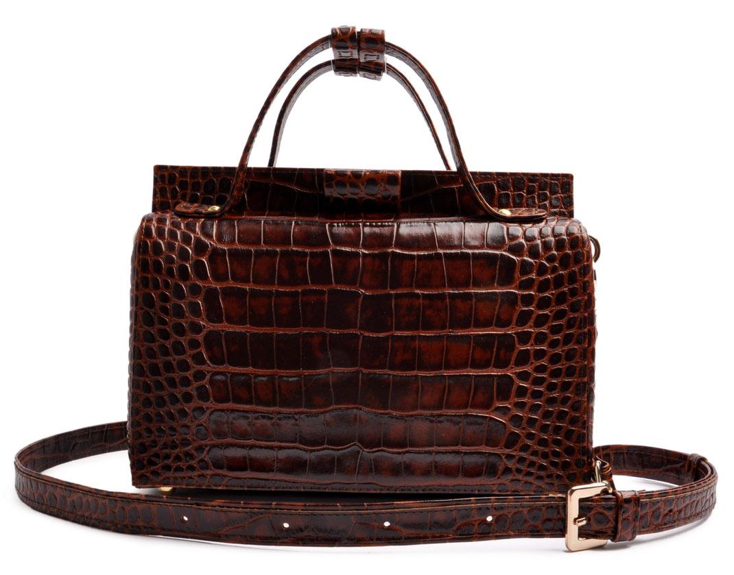 Henkeltasche Vintageoptik Leder braun OSTWALD Traditional Craft Schultertasche