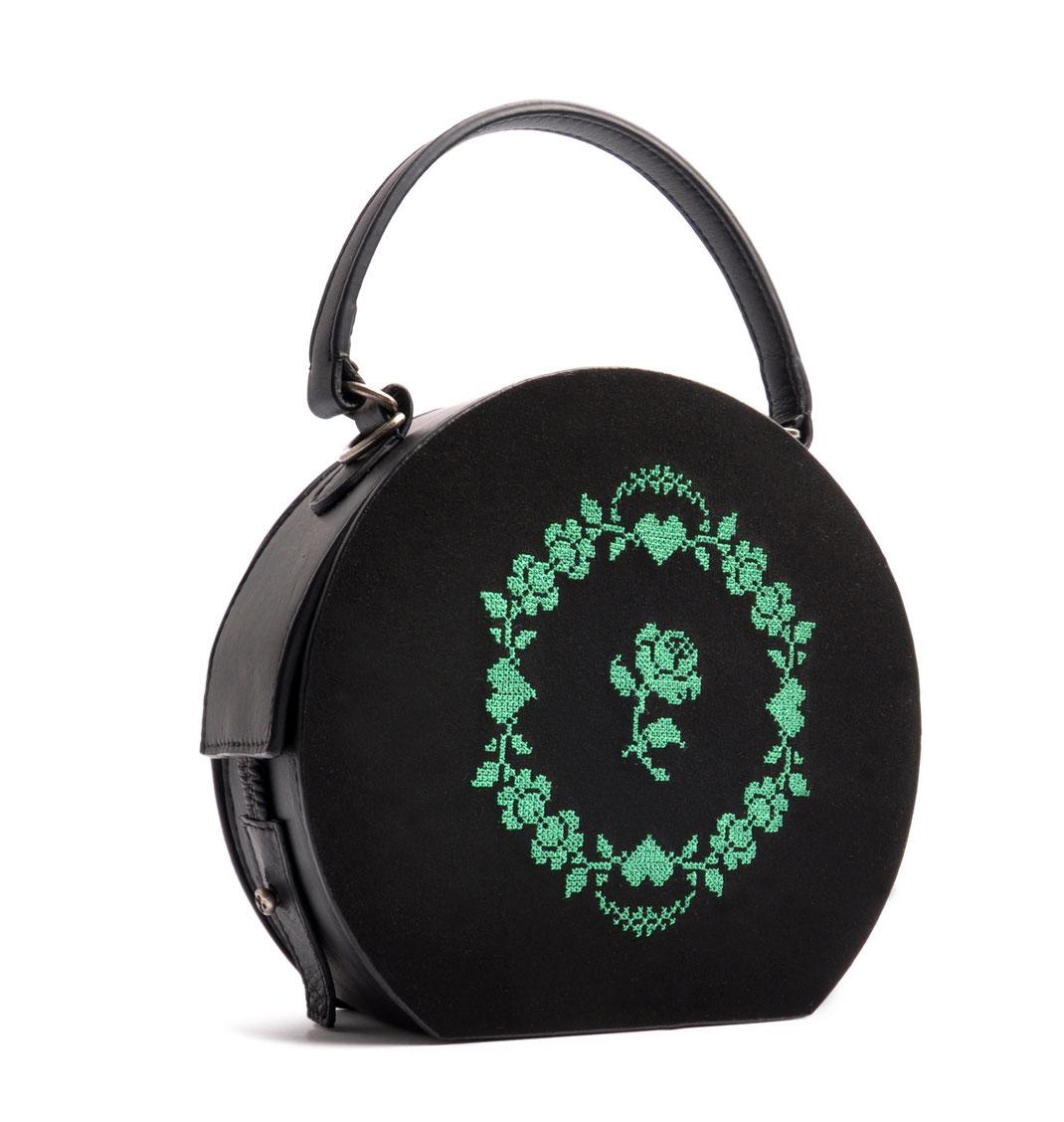 Dirndltasche rund GRETA schwarz  Leder Handarbeit OSTWALD Traditional Craft