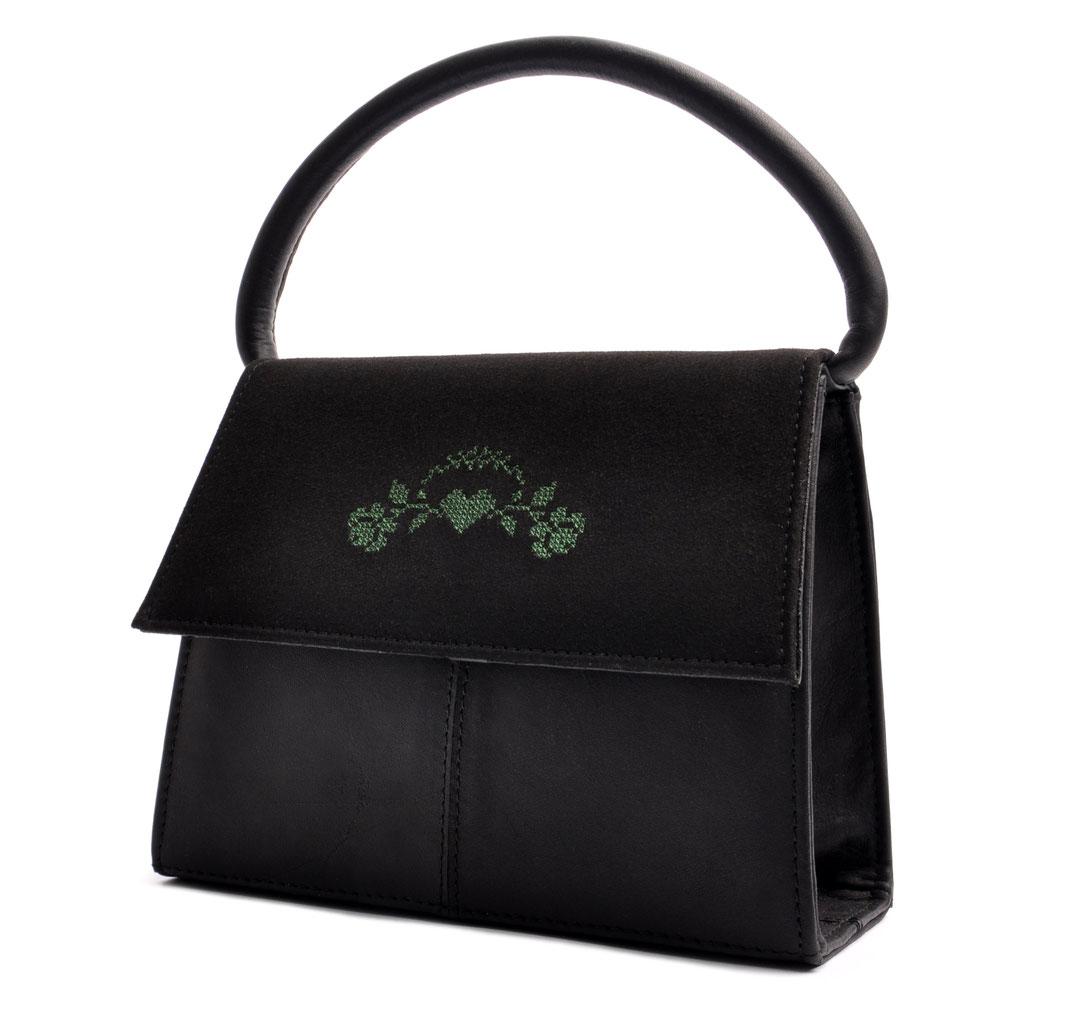 Tracht Trachtentasche  Leder schwarz mit Rosenstick . OSTWALD Traditional Craft