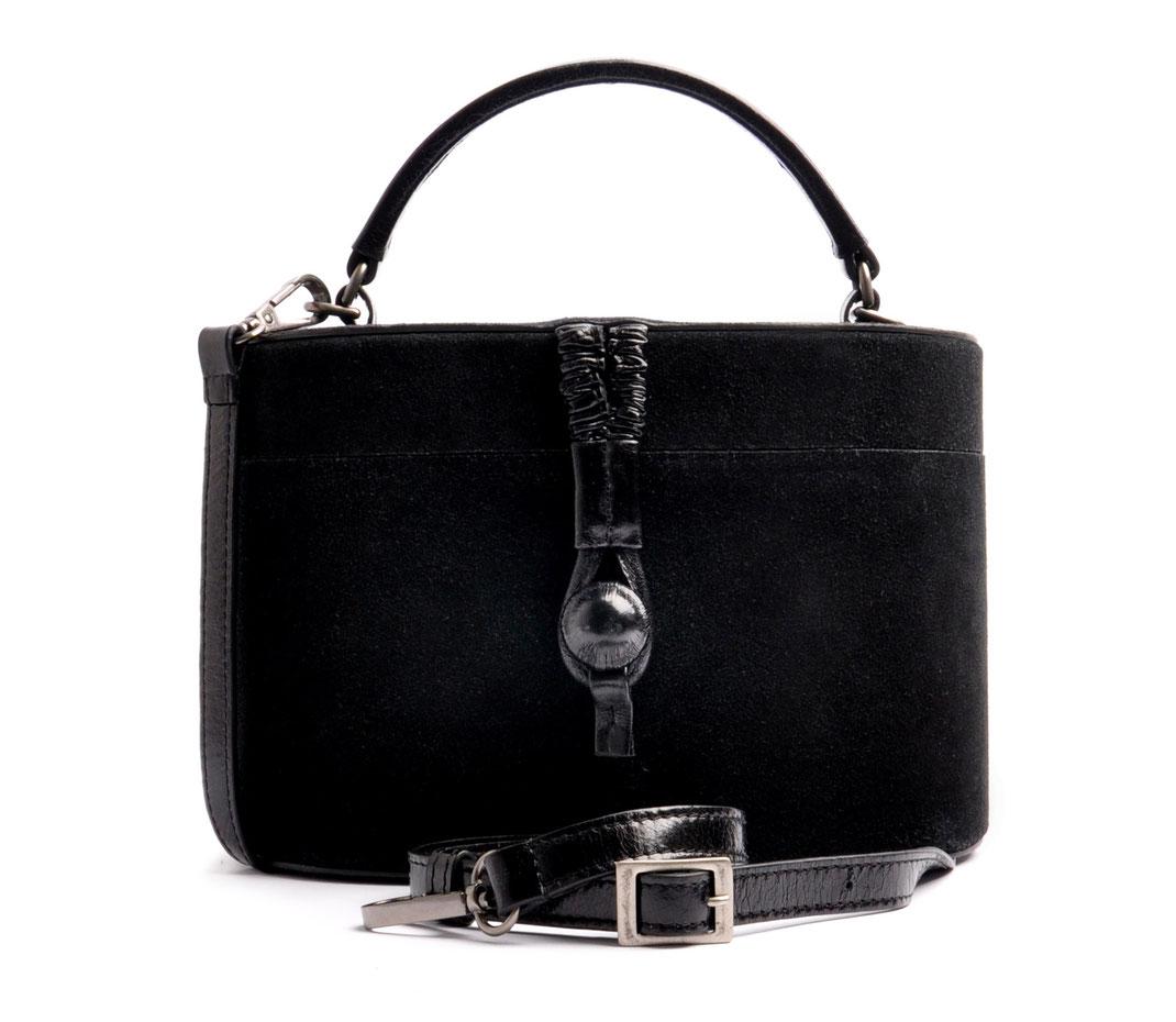 CAMILLE Ledertasche Vintagestil Beautycase Leder schwarz OSTWALD Traditional Craft