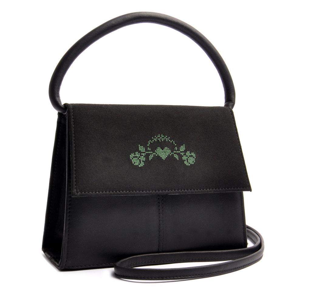 Online Shop Trachtentasche  Echtleder schwarz mit Rosenstick . OSTWALD Traditional Craft