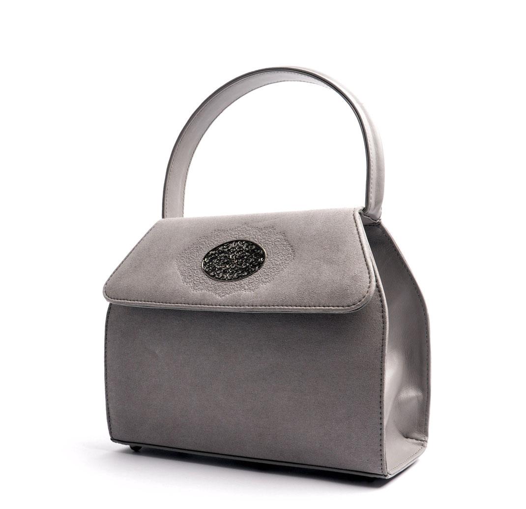 Wiesntasche Trachtentasche EMMA grau  mit Schmuckfiligran OSTWALD Traditional Craft