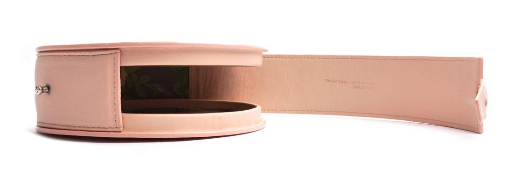 Dirndltasche rund GRETA rosa  Leder Handarbeit OSTWALD Traditional Craft