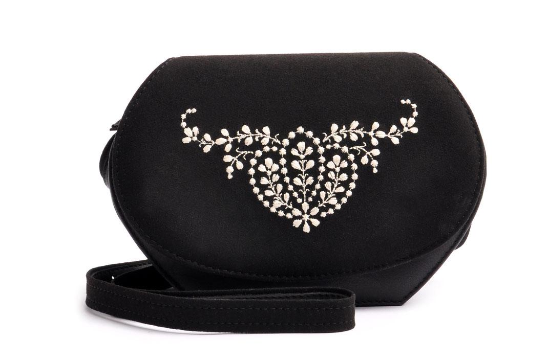 Edle Trachtentasche ANNA schwarz Handgefertigt Ledermanufaktur OSTWALD Tradition