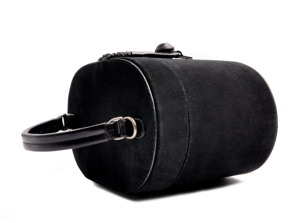Nostalgische Tasche CAMILLE Leder schwarz OSTWALD Traditional Craft