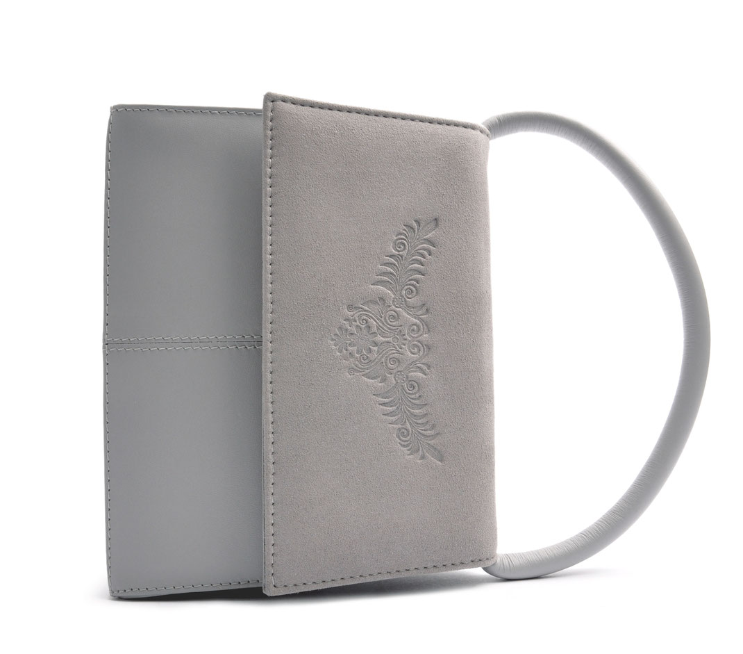 Dirndltäschchen Ledertasche grau . OSTWALD Traditional Craft
