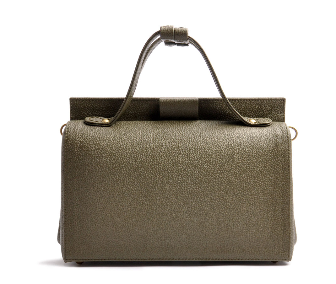 Handcrafted Leather Bag ESTELLE  olive-green Leather Manufactory  OSTWALD Traditional Craft Slowfashion
