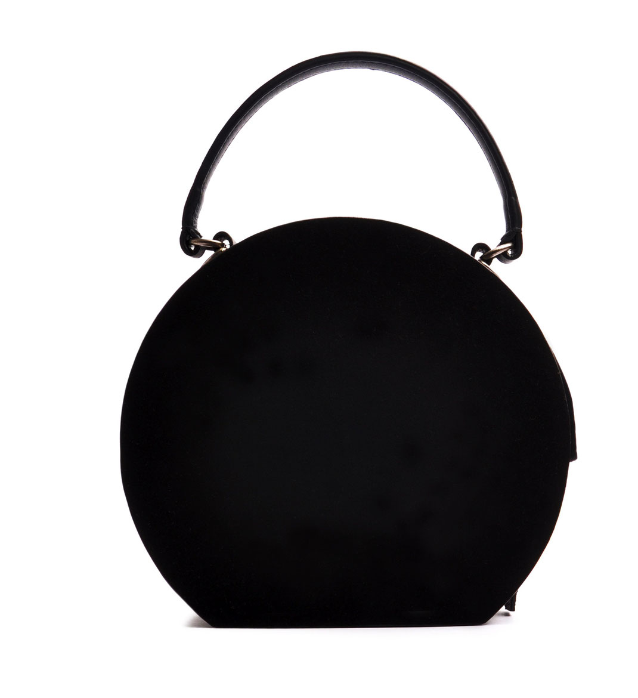 Damen Henkeltasche rund GRETA schwarz Handarbeit  OSTWALD Traditional