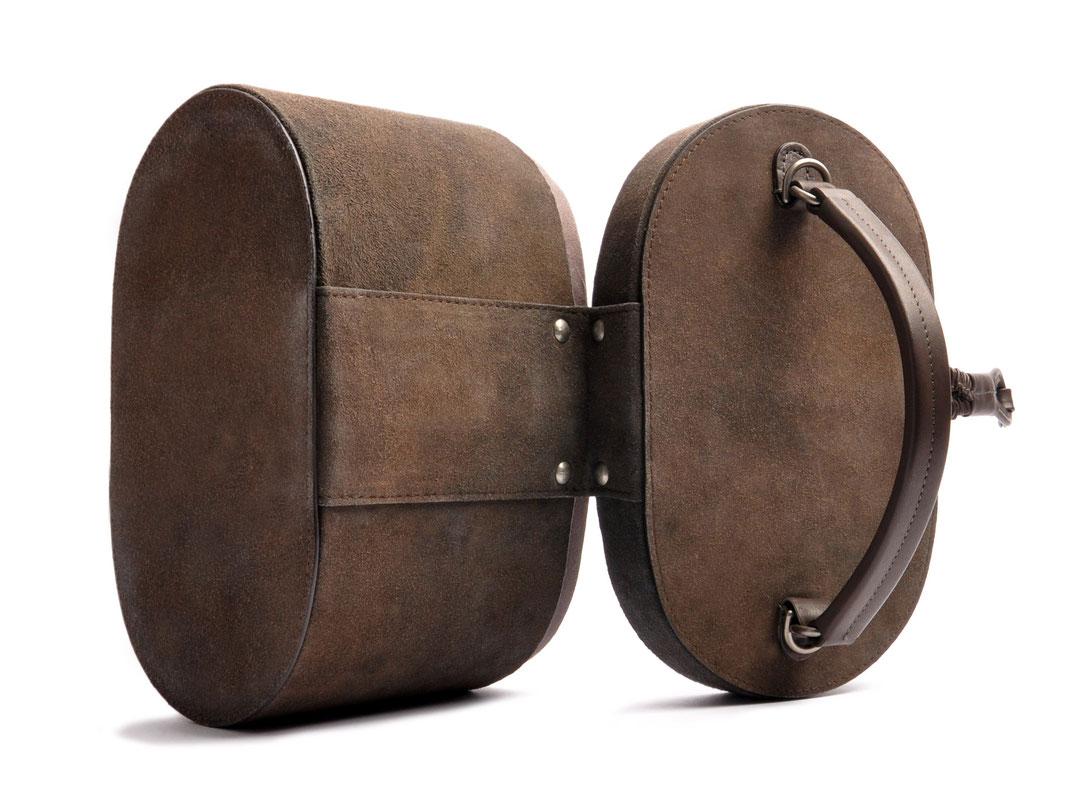 Nostalgische Tasche CAMILLE Leder grau OSTWALD Traditional Craft