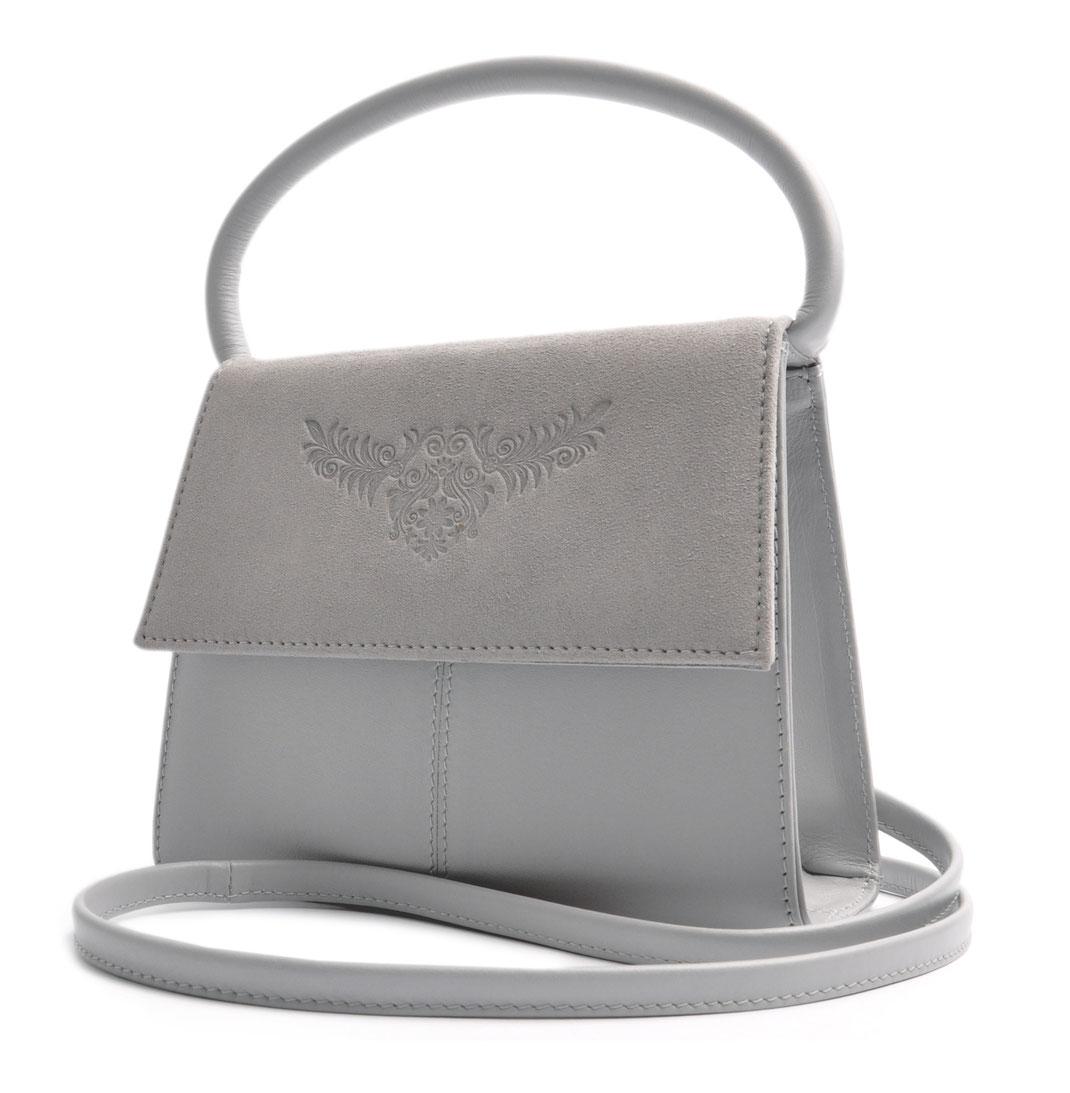 Online Shop Trachtentasche  Echtleder grau . OSTWALD Traditional Craft