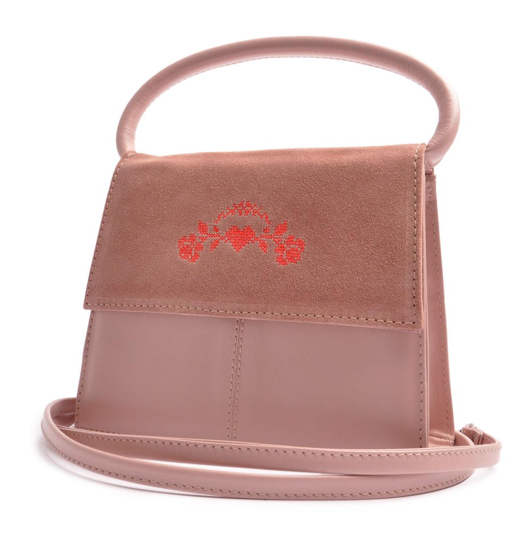 Schultertasche zum Dirndl. Trachtentasche rosa . OSTWALD Traditional Craft