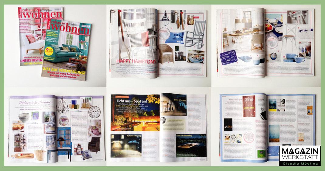 Bei der August und September Ausgabe von Zuhause Wohnen hat Claudia Mögling mitgearteitet