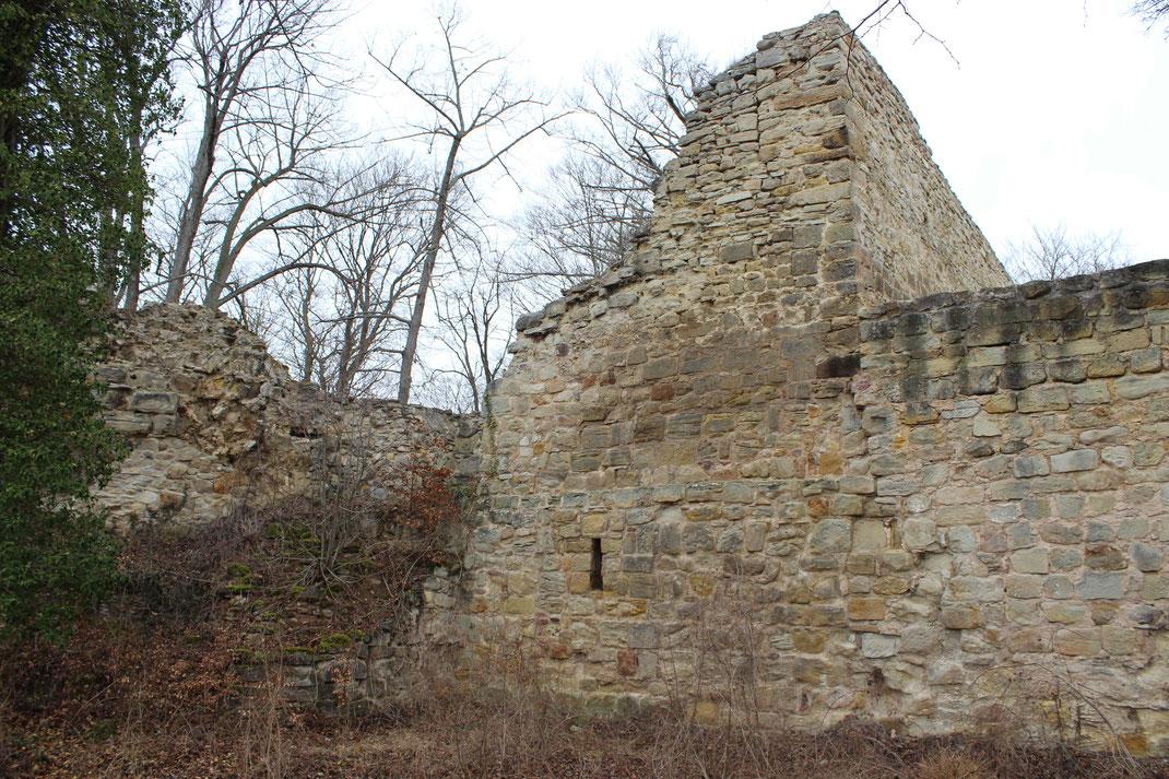 Restaurierte und teilweise originale Burgmauer der Greifenstein