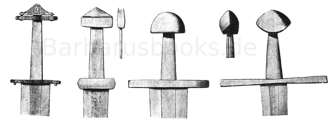 Völkerwanderungsspatha, Eisenspatha der Karolingerzeit, frühromanisches Schwert des 11. Jahrhunderts und spätromanisches Schwert des 12.—13. Jahrhunderts.