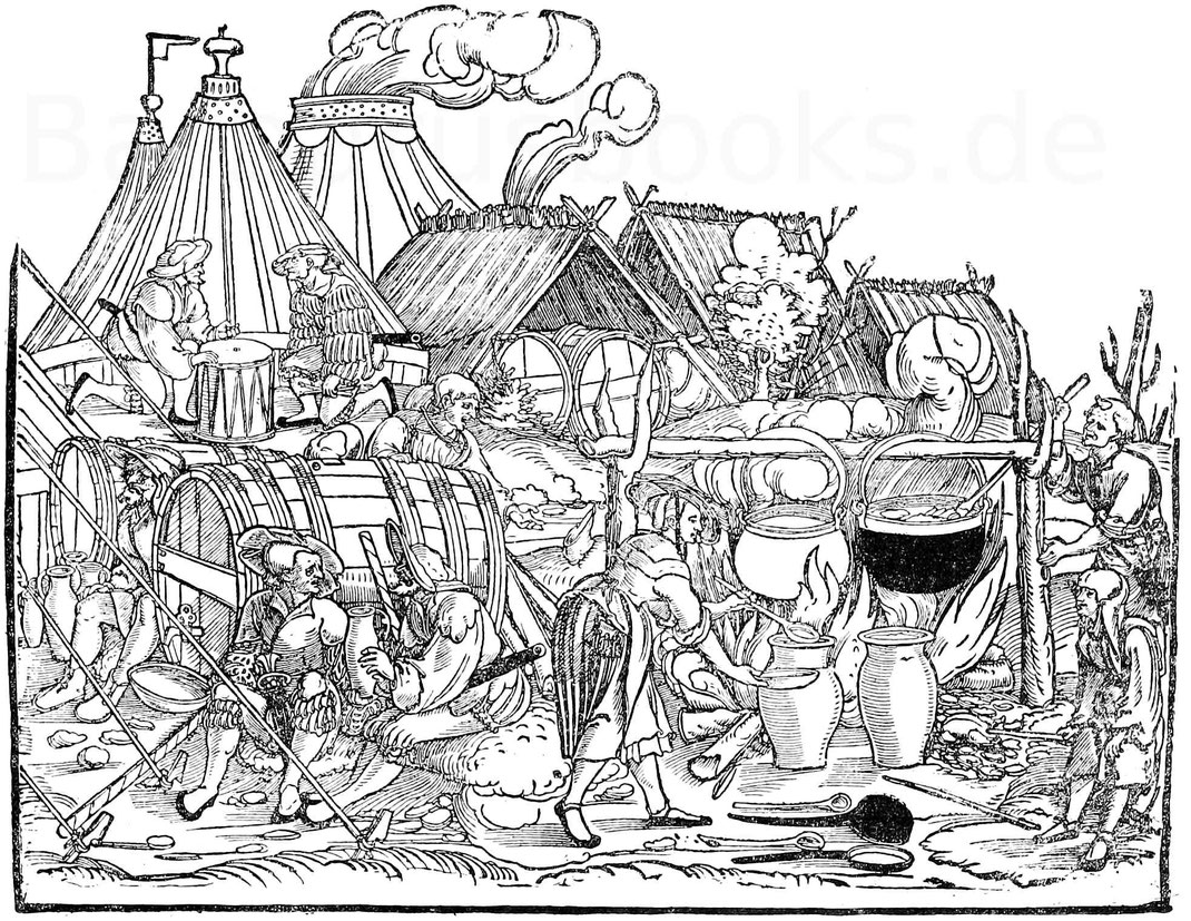 Lagerleben. Holzschnitt in der Art des H. S. Beham. (1500 - 1550). Dresden, Sammlung Friedrich August II. Ros. 276.