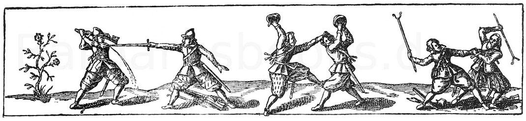 Fußkampfszenen. Kupferstich aus J. J. von Wallhausen, Ritterkunst. Frankfurt 1616.
