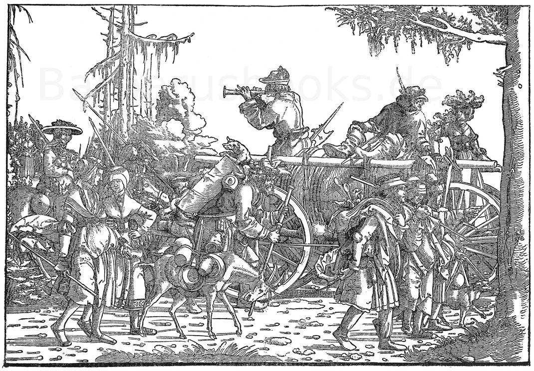 Tross. Holzschnitt aus dem Triumpfzug Maximilians I. von H. Burkmair (1473-1531). Berlin, Kupferstichkabinett.
