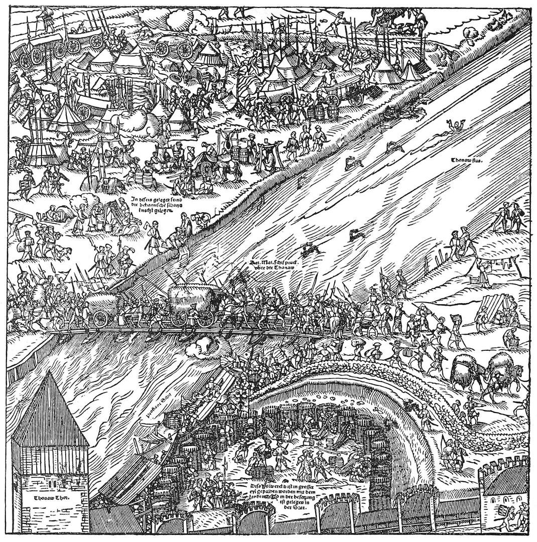 Mittelalterliche Behelfsbrücke im Feldzug.