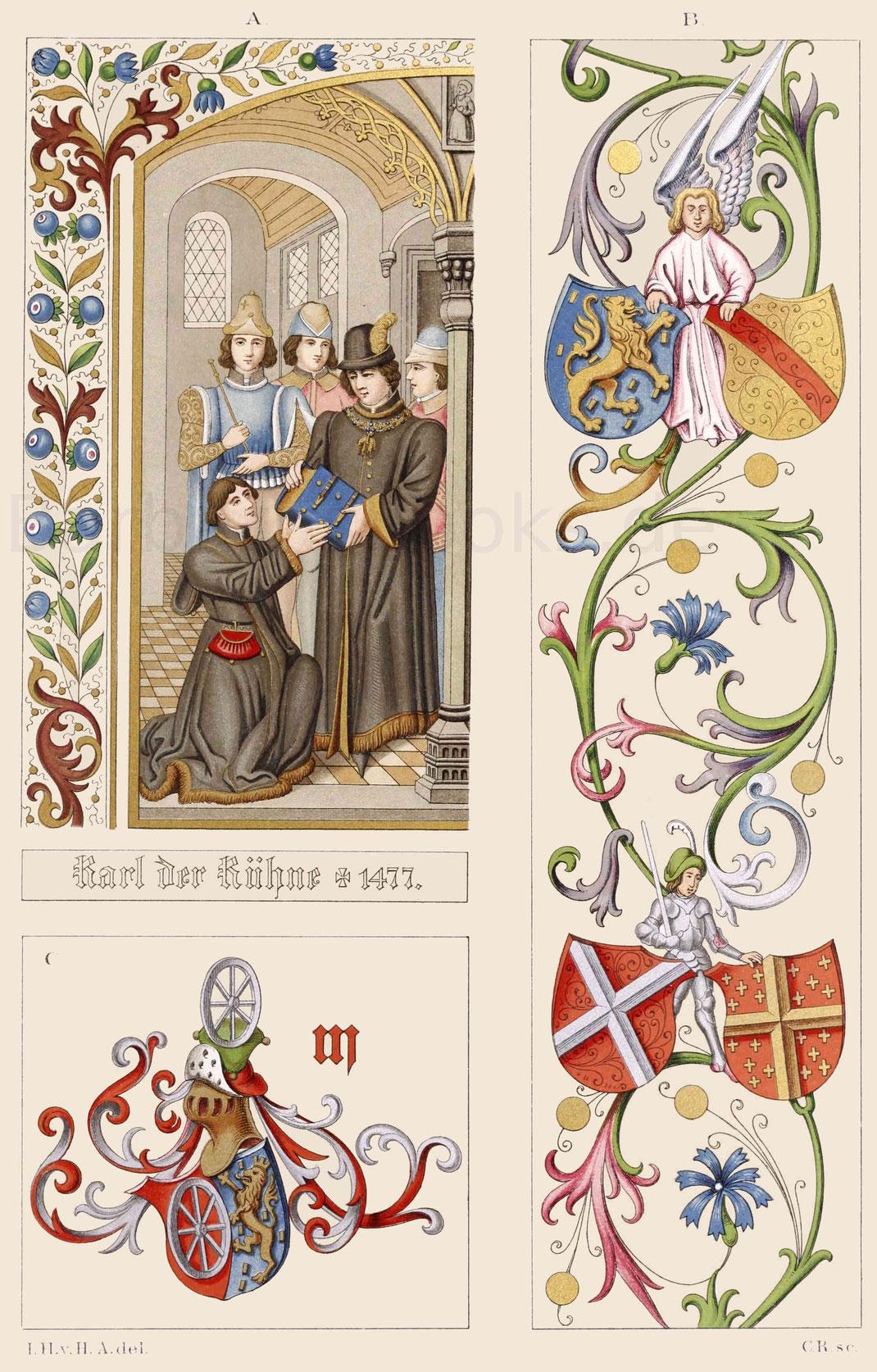 Pergament-Miniaturmalereien aus der zweiten Hälfte des 15. Jahrhunderts.