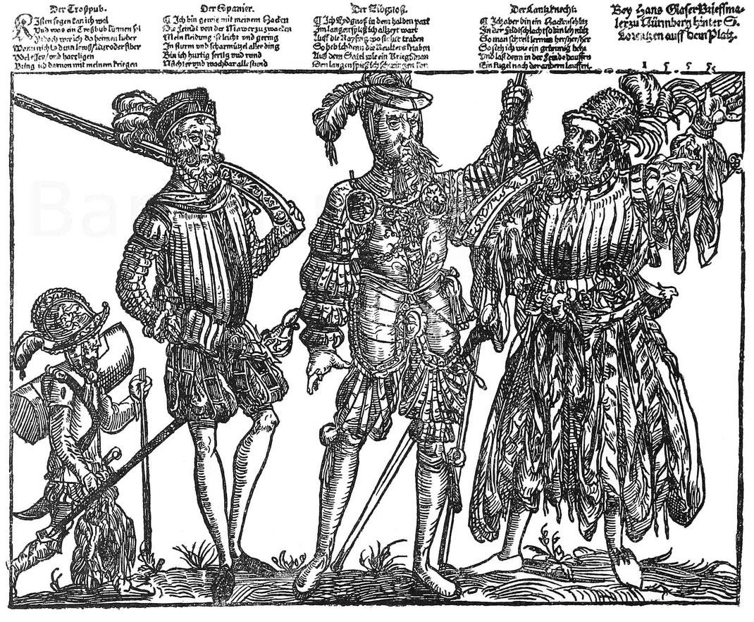 Trossbube, spanischer Schütze, Schweizer und Hakenknecht. Fliegendes Blatt 1555. München Kupferstichkabinett.