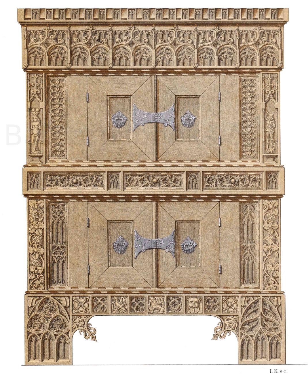 Schrank aus braunem Holz, im Besitz des Germanischen Museums in Nürnberg.