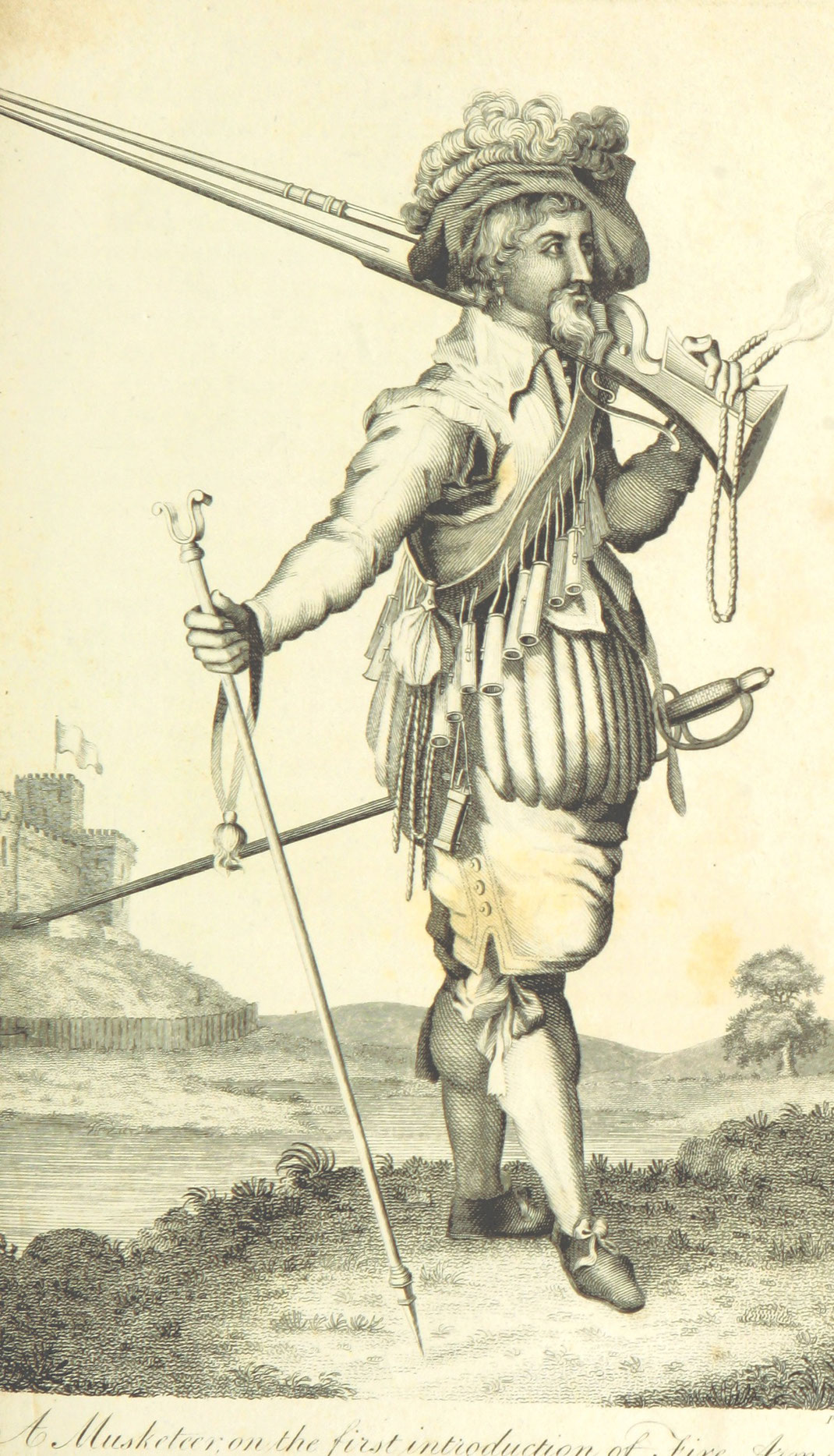historic picture of a Musketeer with a Musket Fork