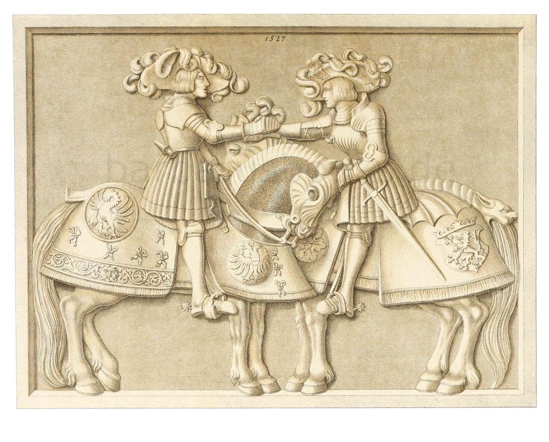 Zwei Ritter zu Pferd, meisterhaftes Relief in Solenhofer Stein geschnitten, mit der Jahreszahl 1527