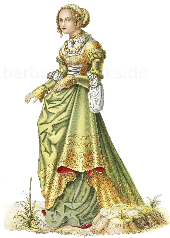 Deutsche Frauentracht aus der ersten Hälfte des 16. Jahrhunderts