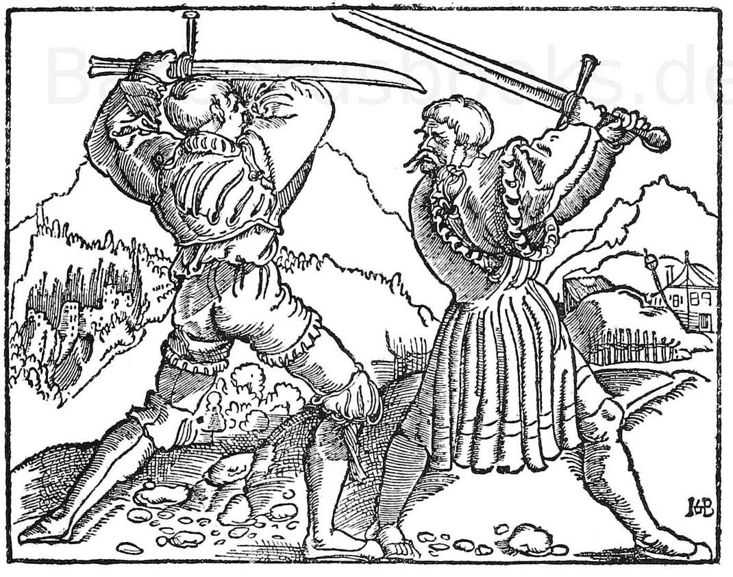 Kämpfende Landsknechte, Schwertkampf.