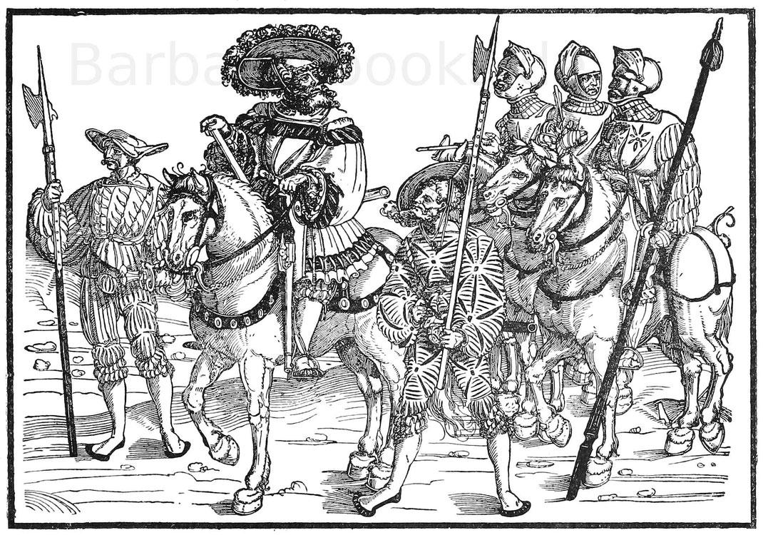 Feldhauptmann der Landsknechte zu Anfang des 16. Jahrhunderts. Holzschnitt von Hans Guldenmund. Aus Bayerland, Jahrgang 1897.