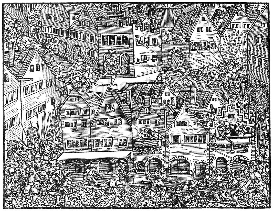 Erstürmung einer Stadt. Holzschnitt aus Stumpf, Schweizerchronik. Zürich, Froschauer 1548.