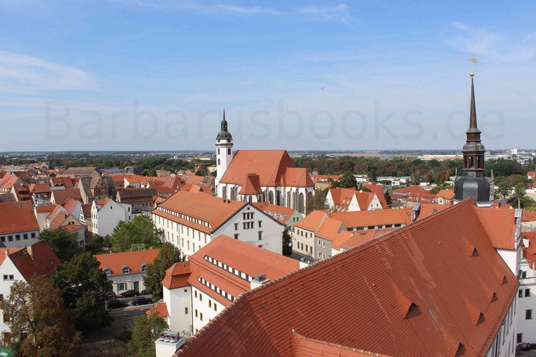 Blick auf die Altstadt von Torgau vom Schloss Hartenfels aus gesehen.
