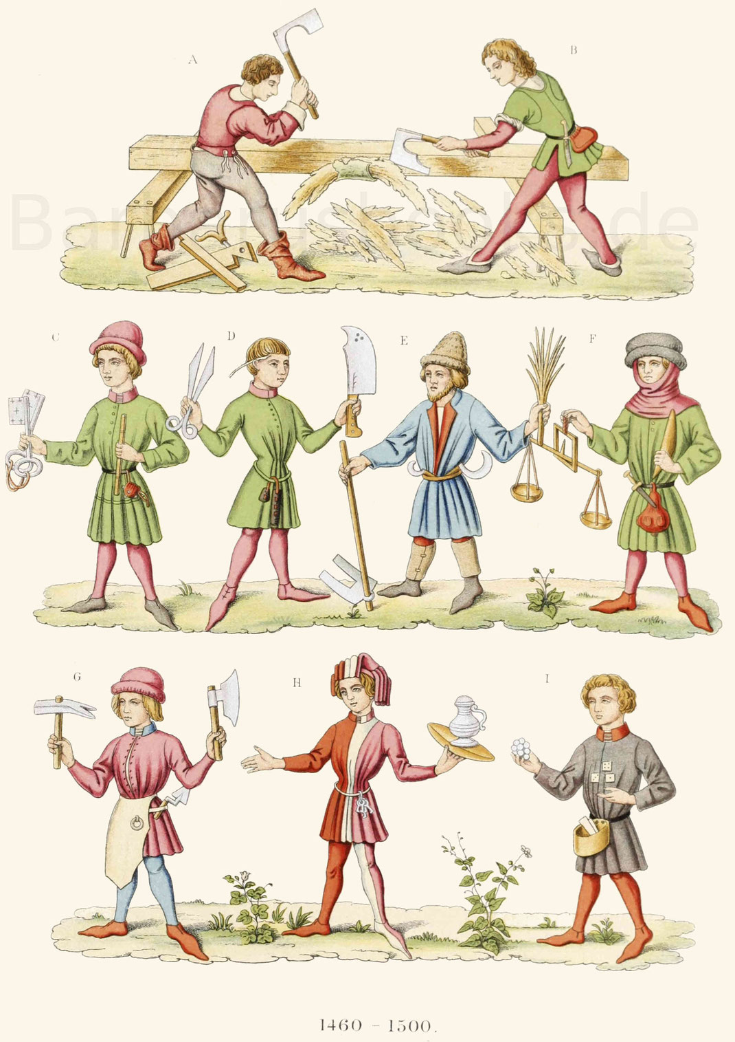 Gewerbetreibende Männer des 15. Jahrhunderts in ihren Trachten.