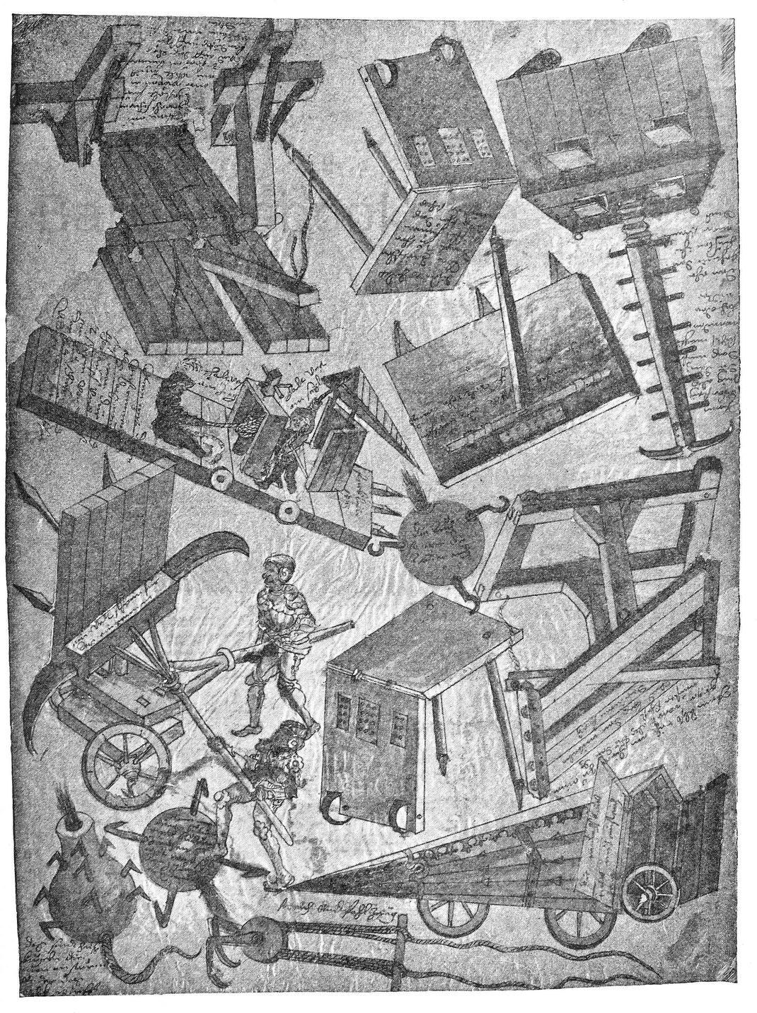 Belagerungsmaschinen und Schutzschirme im 15. Jhd. Handzeichnung im Germanischen Museum zu Nürnberg.