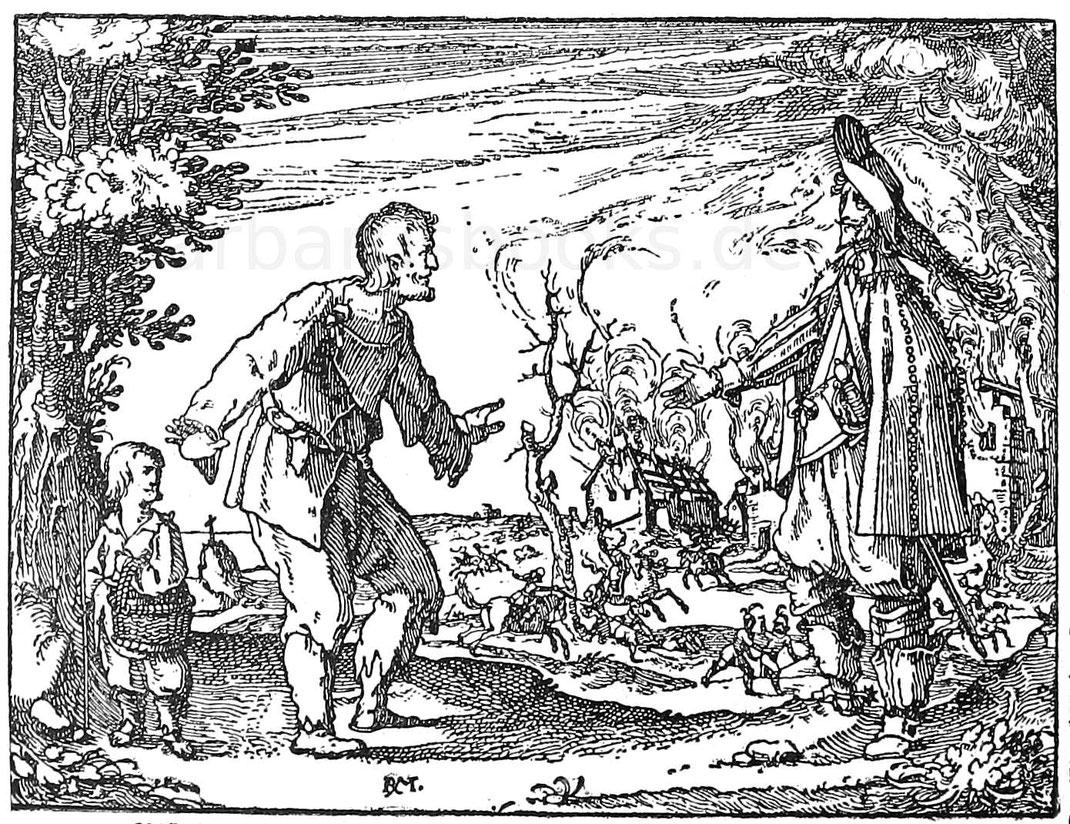 Plünderung im Dreißigjährigem Krieg. Stich von Rud. Meyer.
