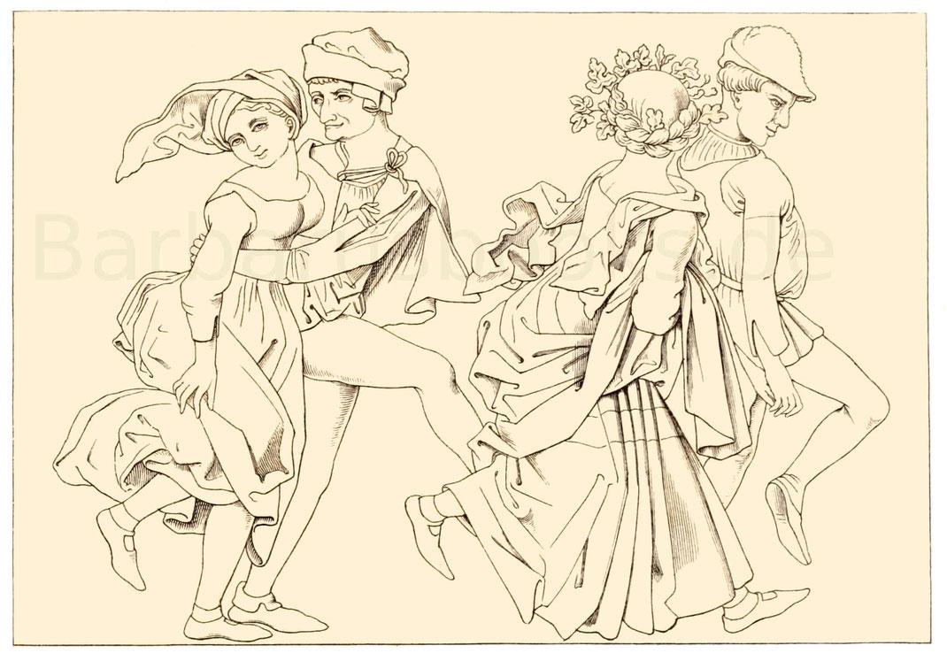 Bauerntracht aus der zweiten Hälfte des 15. Jahrhunderts.