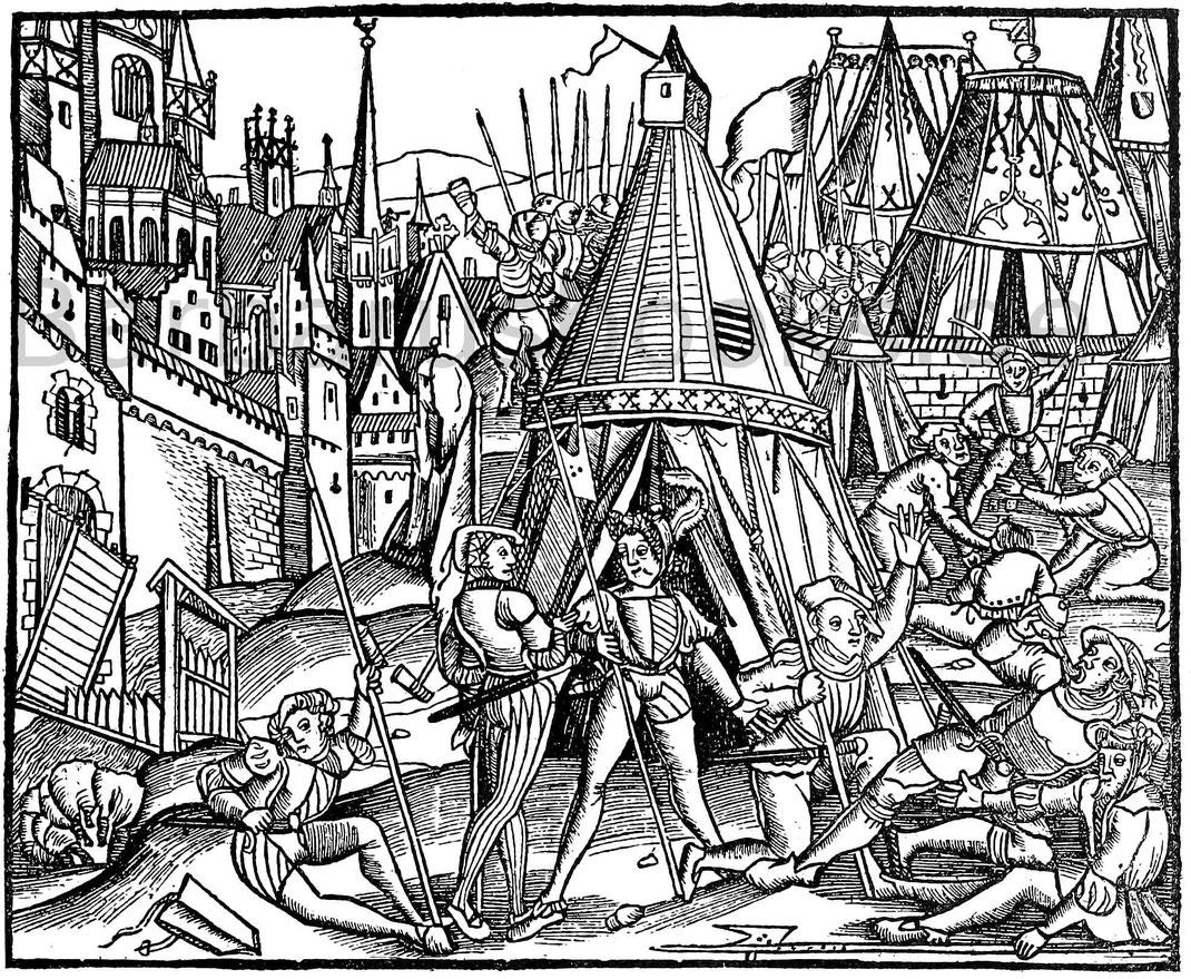 Lagerszene aus dem 15. Jahrhundert. Holzschnitt aus Livius, Römische Hostorien. Mainz, Schöffer, 1505.