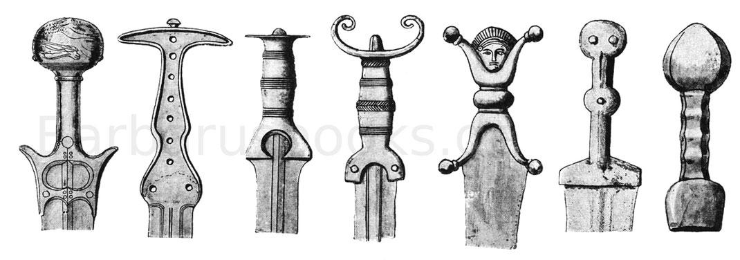 Schwertgriff von Mykene, bronzenes Kurzschwert, ungarisches Bronzeschwert, kurzes Bronzeschwert aus der Übergangszeit der Spätbronzezeit, Hallstattschwert, eisernes Kurzschwert und römischer Dolch.