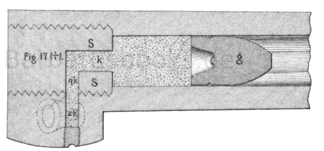 Expansionssystem mit zentraler Zündung nach Podewils  — Durchschnitt nach der Horizontalebene des Rohres, bei eingesetzter Ladung. Bayerisches Infanterie-Gewehr, Muster 1858.