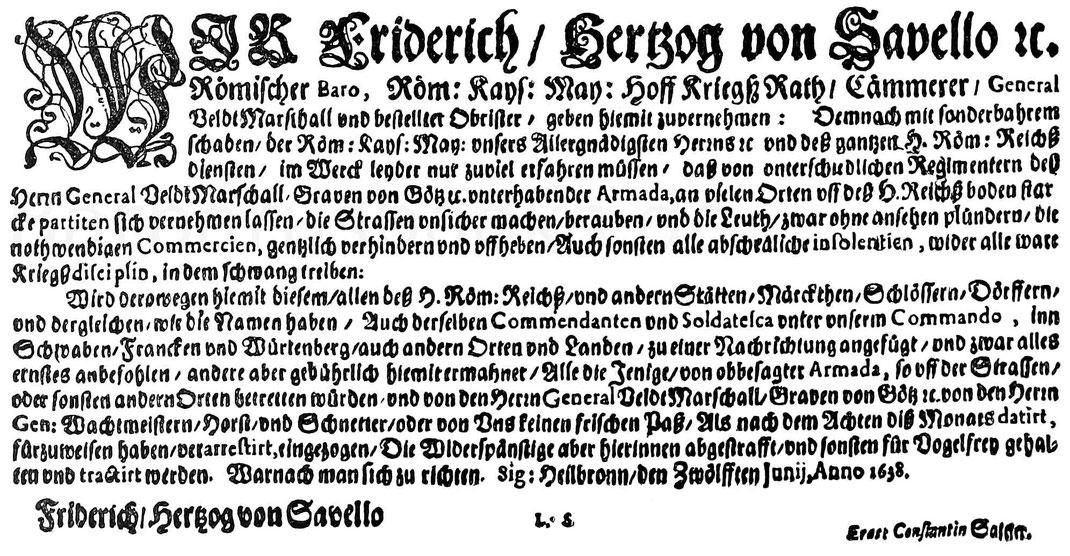 Mandat des kaiserlichen Feldmarschal Herzog von Savello gegen Marodeure. 1638. Aus Henne am Rhyn, Kulturgeschichte.