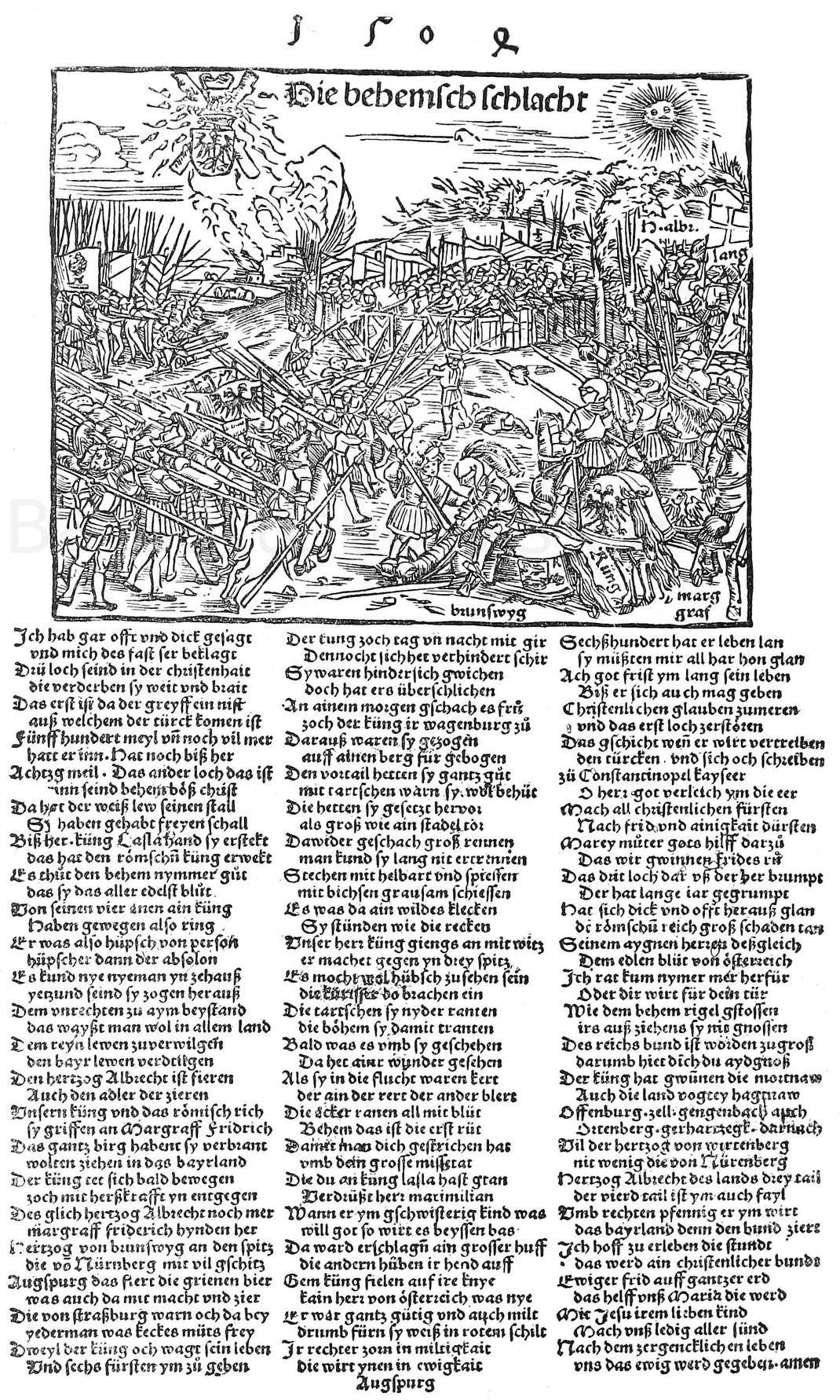 Maximilian schlägt 1504 bei Regensburg die böhmischen Hilfstruppen Pfalzgraf Ruprecht. Gleichzeitiges Augsburger fliegendes Blatt. München, Hofbibliothek.