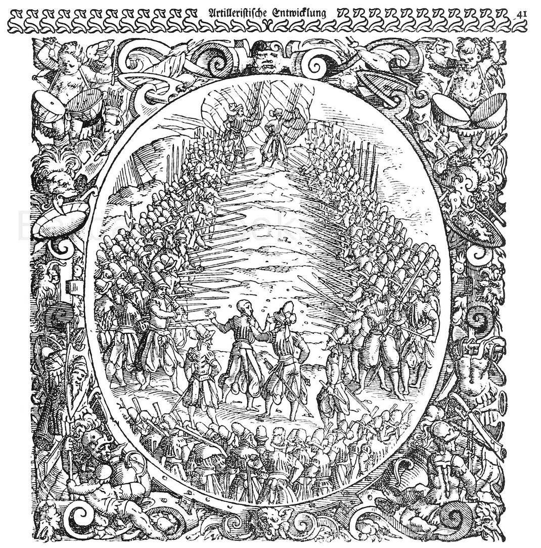 Das Recht der langen Spieße. Holzschnitt von J. Amman. Aus Fronsperger, Kriegsrechte. Frankfurt 1566.