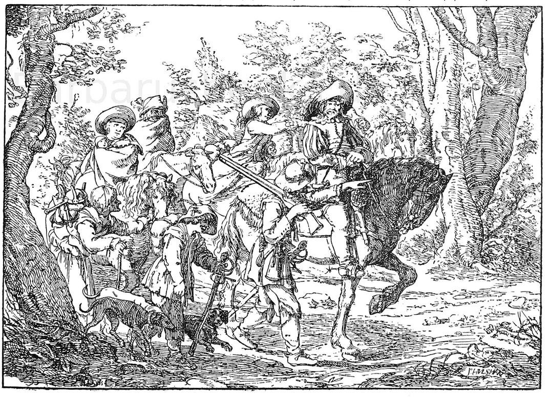 Soldatentrupp um 1630. Kupferstich von J. Hulsmann. Aus Hirst, Bilderbuch.