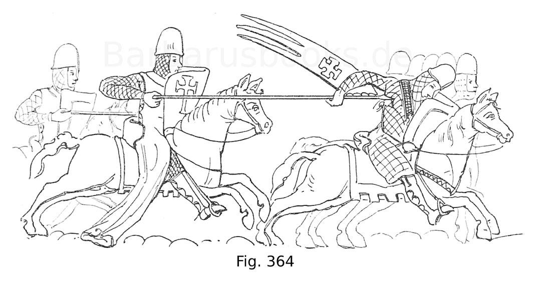 Fig. 364. Reitergefecht aus einem Manuskript des 13. Jahrhunderts nach Van der Kellen.