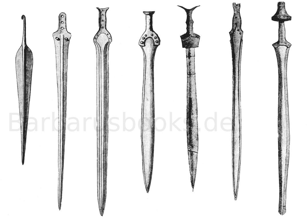 Verschiedene Bronzeschwerter aus Mykene, Hallstatt, Ungarn, Italien und Südtirol.