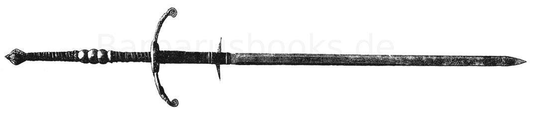 Zweihänderschwert der zweiten Hälfte des 16. Jahrhunderts, 191 cm lang, der Knauf geschnitten, der Griff aus Holz beledert und mit Messingdraht umwunden.