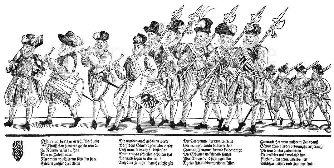 Truppen von Soldaten des 16. Jahrhunderts in Deutschland.