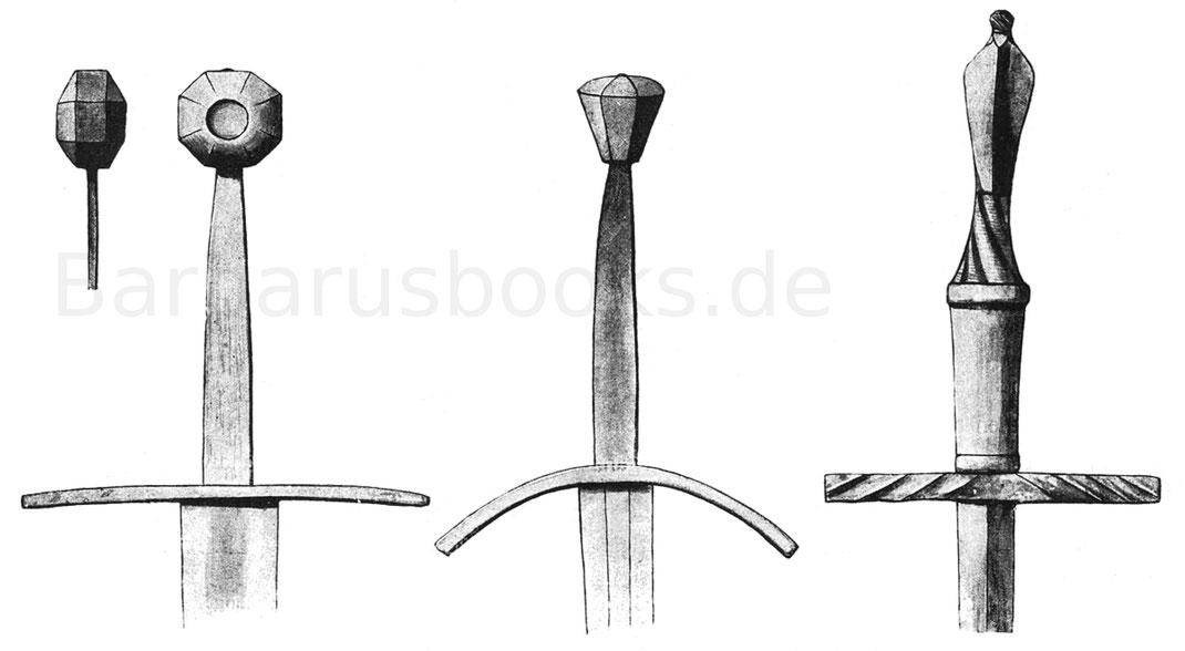 Frühgotisches Reiterschwert der Zeit um 1400, gotisches Schwert mit 16 cm Griffweite und spätgotisches Stoßschwert der Zeit um 1450—90.