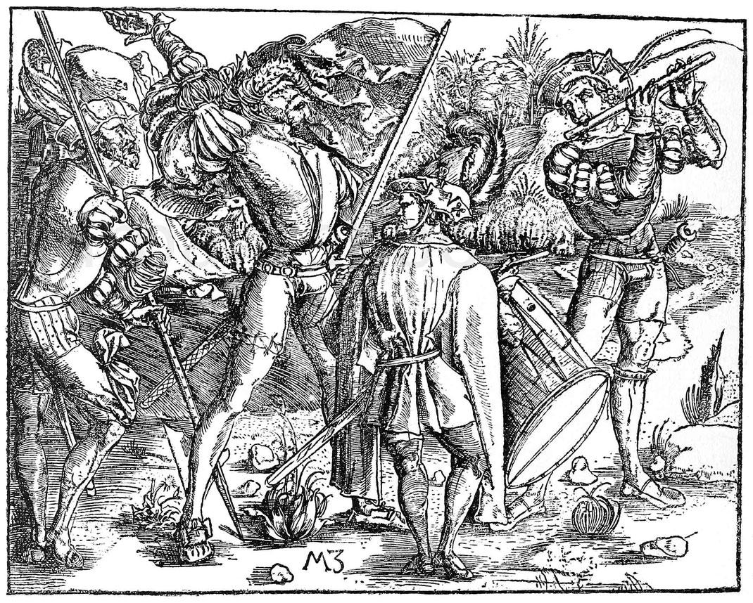 Landsknechte aus dem Ende des 15. Jahrhunderts. Stich von M. Zafinger. Berlin, Kupferstichkabinett. B. 20.